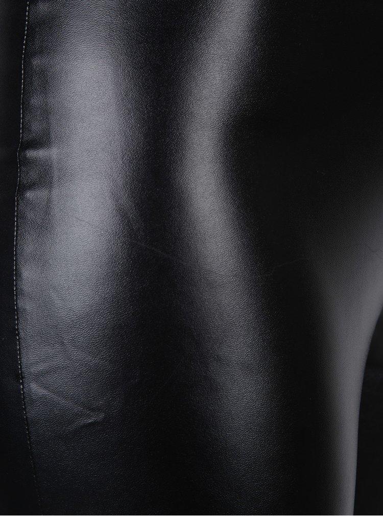 Černé koženkové legíny Miss Selfridge