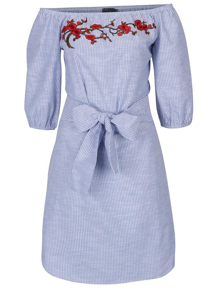 Modro-bílé pruhované šaty s odhalenými rameny Pretty Girl