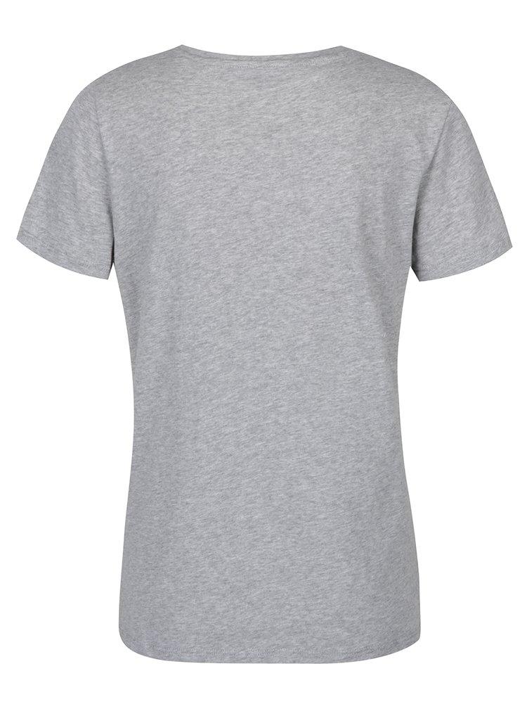 Světle šedé tričko se sametovým detailem VERO MODA Aiyo