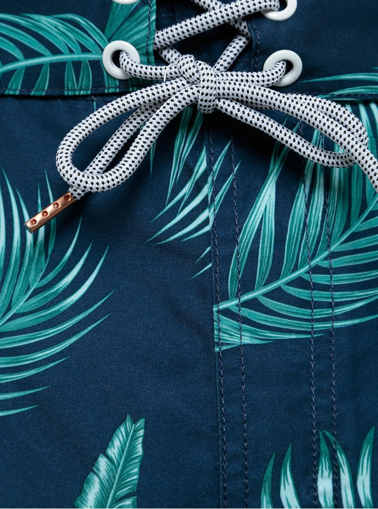 Bermude bleumarin de baie cu model tropical verde Burton Menswear London