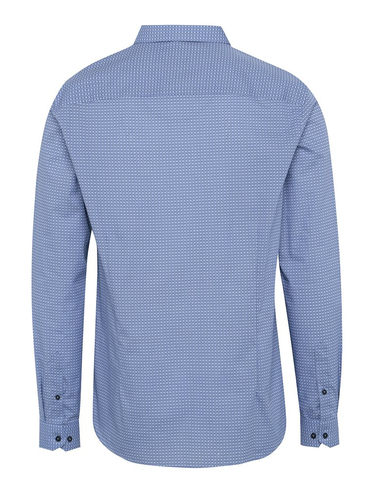 Camasa office albastra slim fit cu model si maneci lungi Burton Menswear London