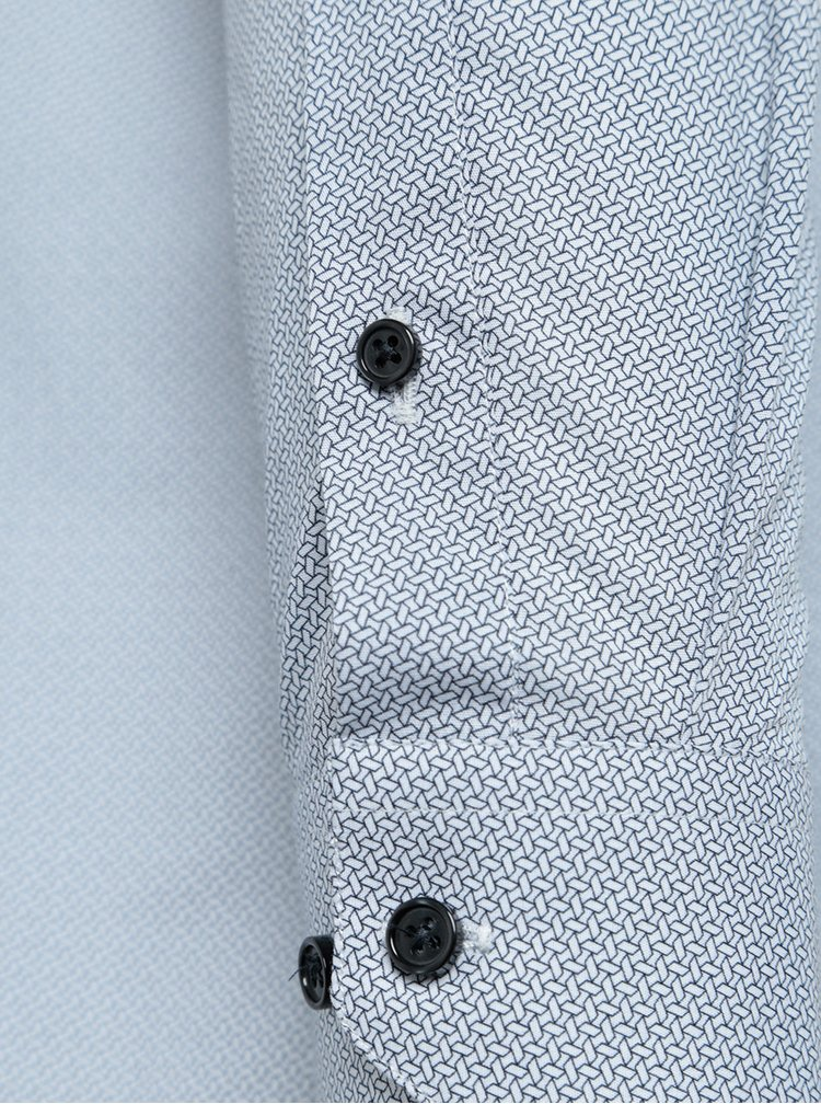Šedo-bílá formální slim fit košile s jemným vzorem Burton Menswear London
