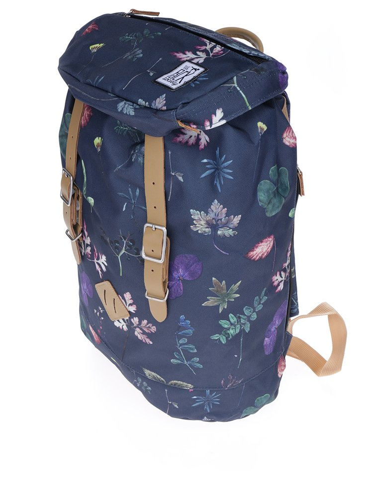 Tmavomodrý batoh so vzororm listov The Pack Society 23 l