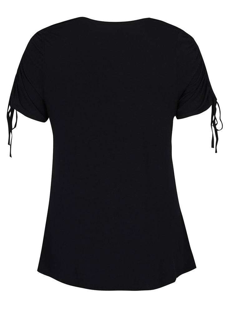 Černé tričko s řasením na rukávech Dorothy Perkins Curve