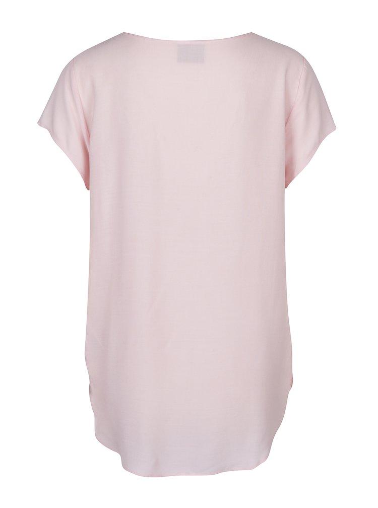 Světle růžový top s krátkým rukávem VERO MODA Boca