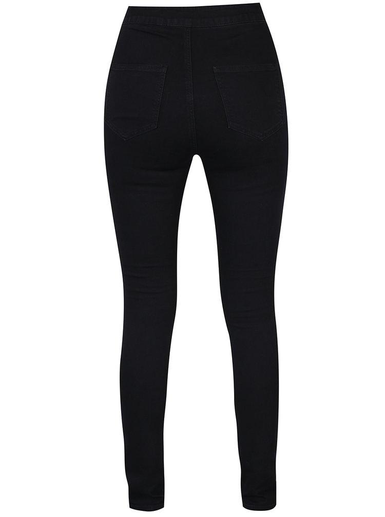 Černé slim fit džíny s vysokým pasem Noisy May Mella