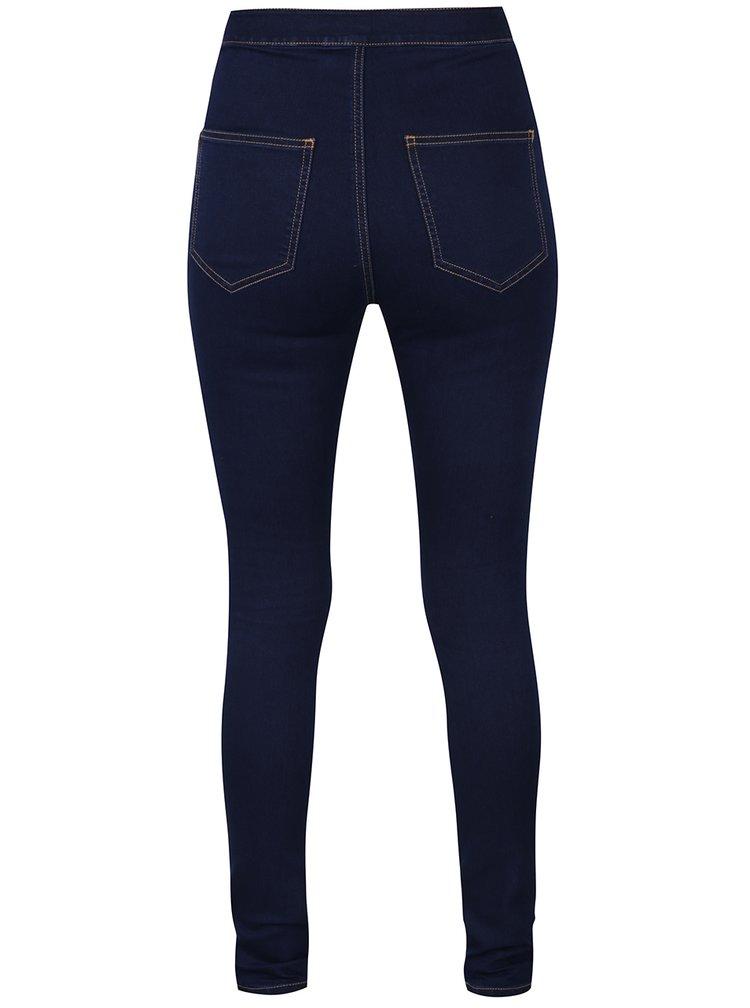 Tmavě modré slim fit džíny s vysokým pasem Noisy May Mella