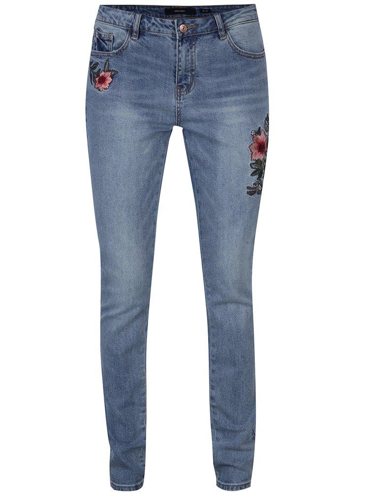 Modré džíny s výšivkami VERO MODA Adele