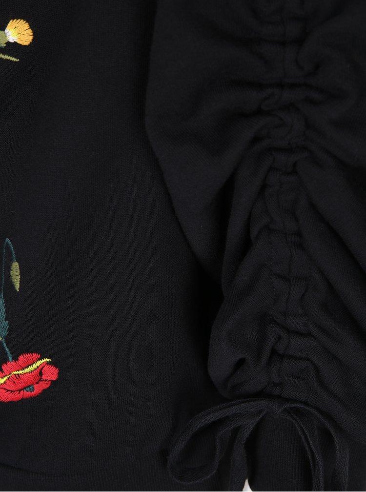 Černá květovaná mikina s řasením na rukávech Miss Selfridge
