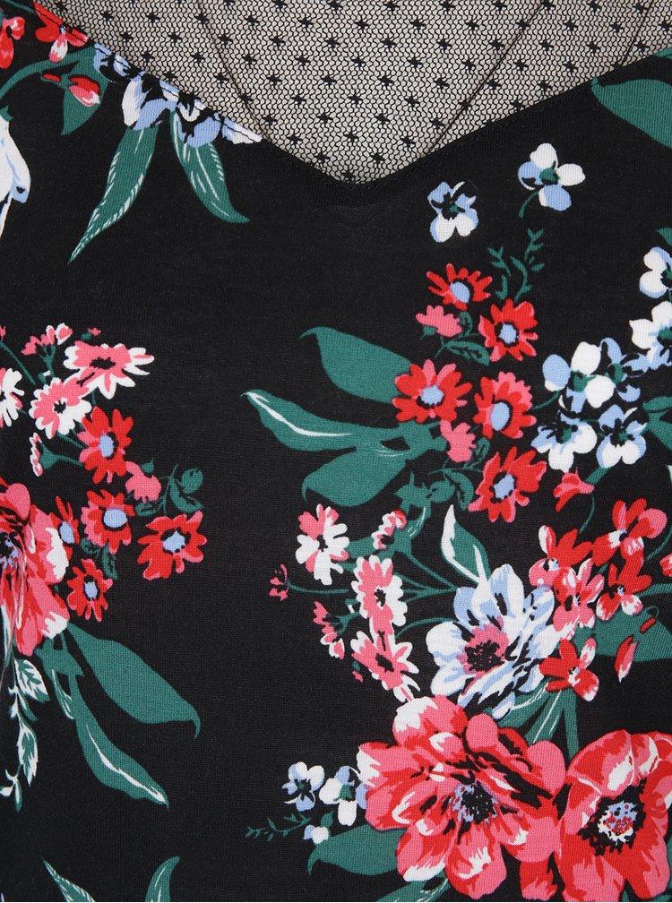 Černé květované tílko s průsvitným sedlem Dorothy Perkins