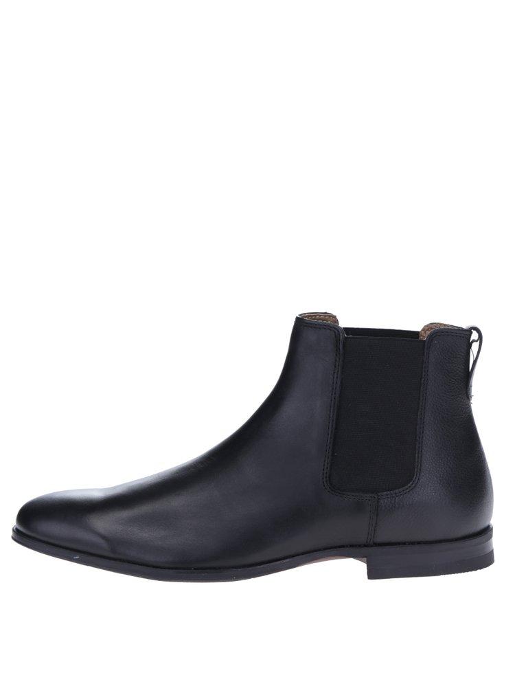 Ghete chelsea negre din piele - Burton Menswear London