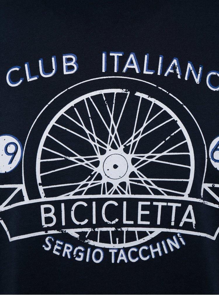 Tricou bleumarin slim fit pentru bărbați Sergio Tacchini Veide
