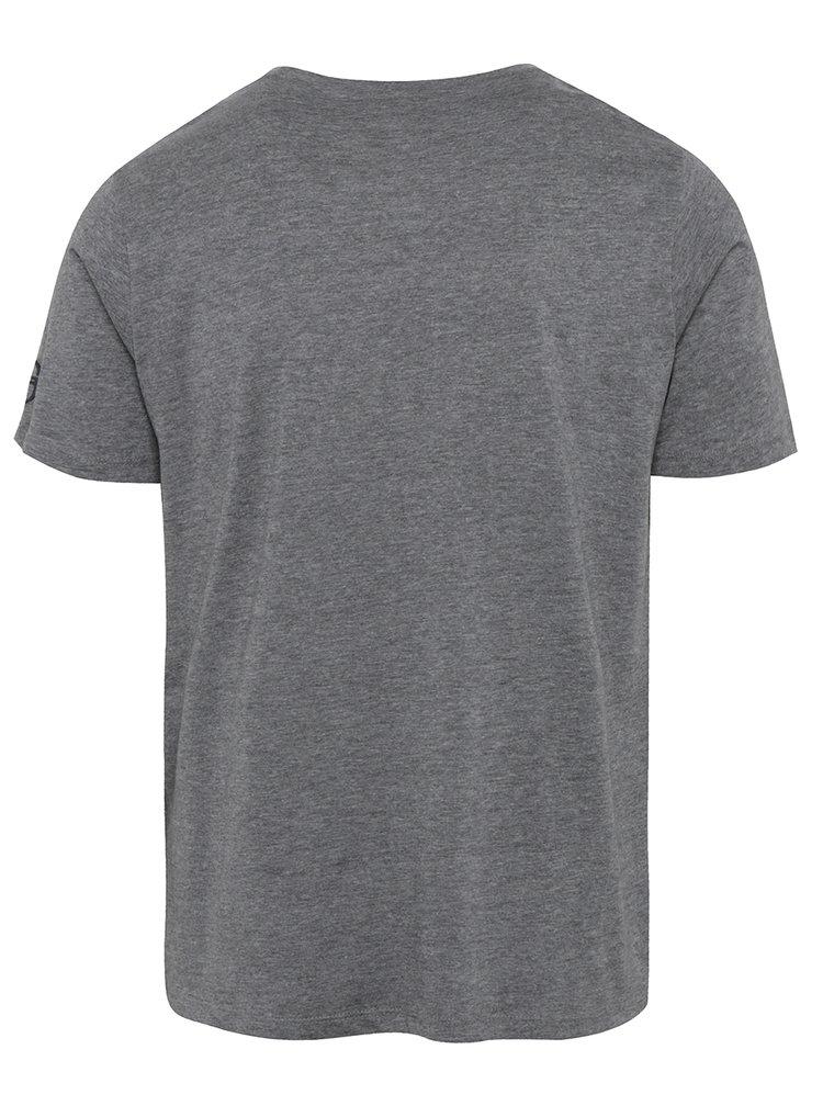 Tmavě šedé pánské žíhané slim fit tričko s potiskem Sergio Tacchini Viscar
