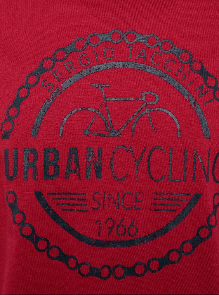Červené pánské slim fit tričko s potiskem Sergio Tacchini Viscar