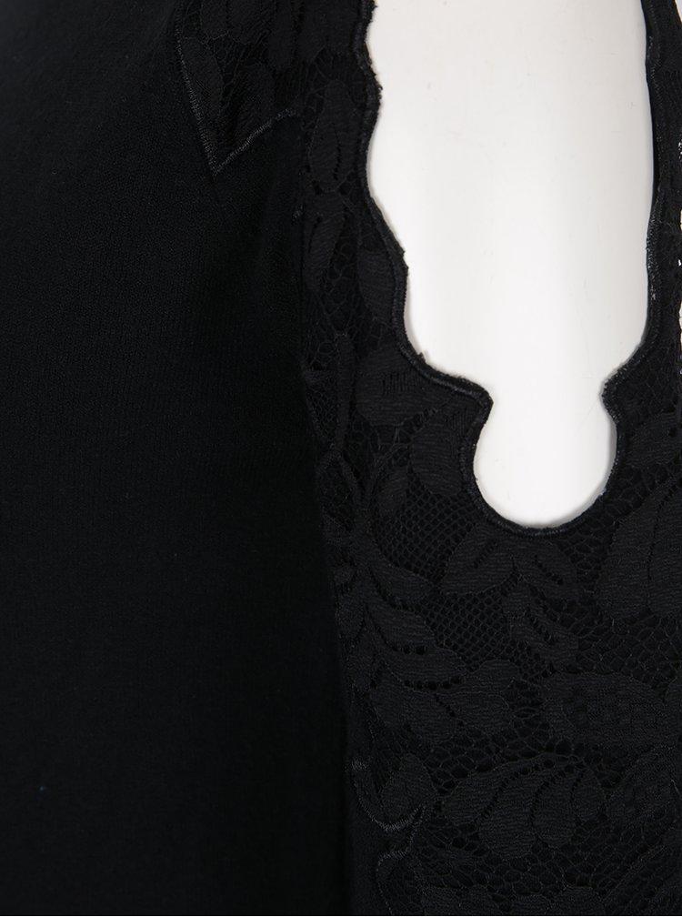 Pulover negru cu decupaje si detalii din dantela Dorothy Perkins