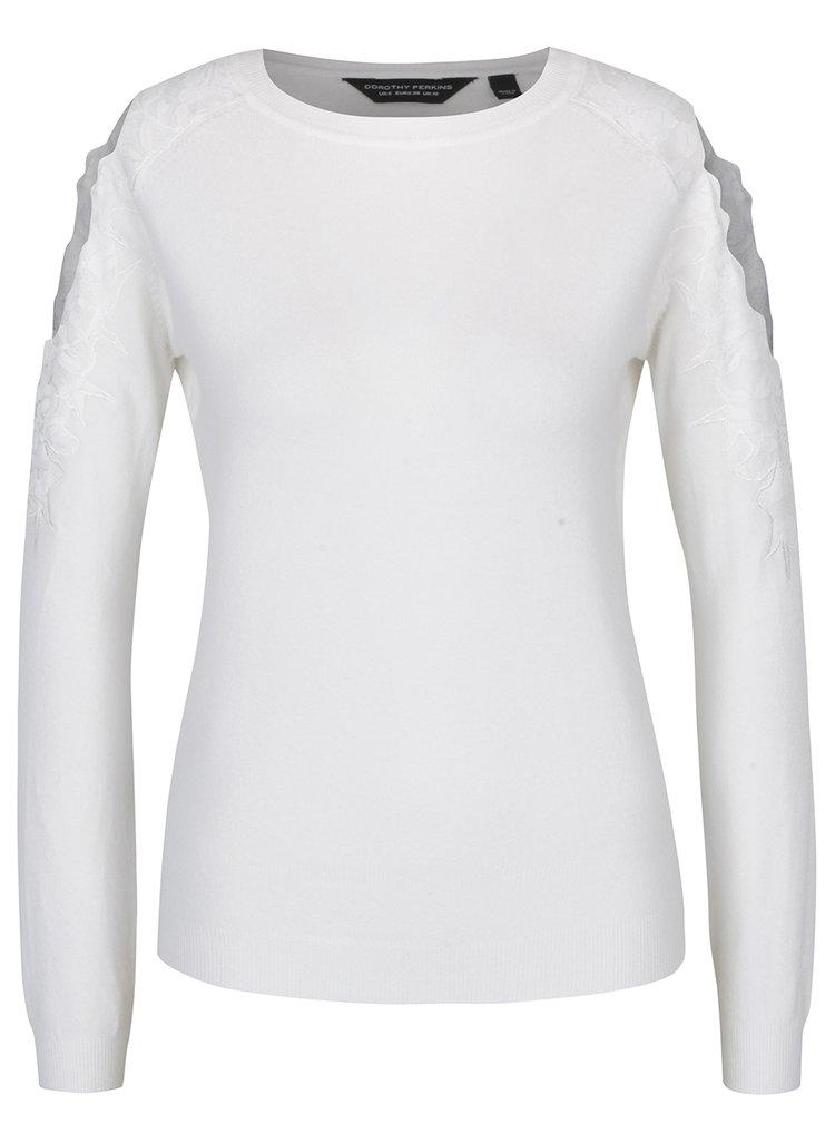 Krémový svetr s průstřihy na ramenou a krajkovými detaily Dorothy Perkins