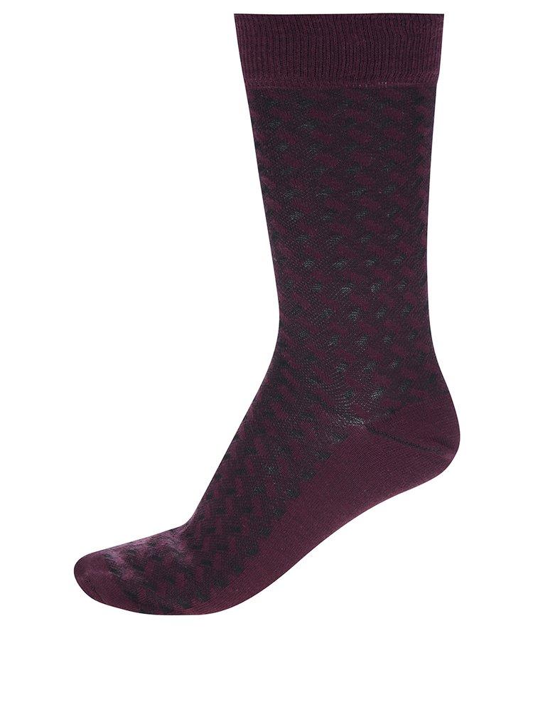 Set de 4 perechi de sosete inalte gri & negru & visiniu - Burton Menswear London