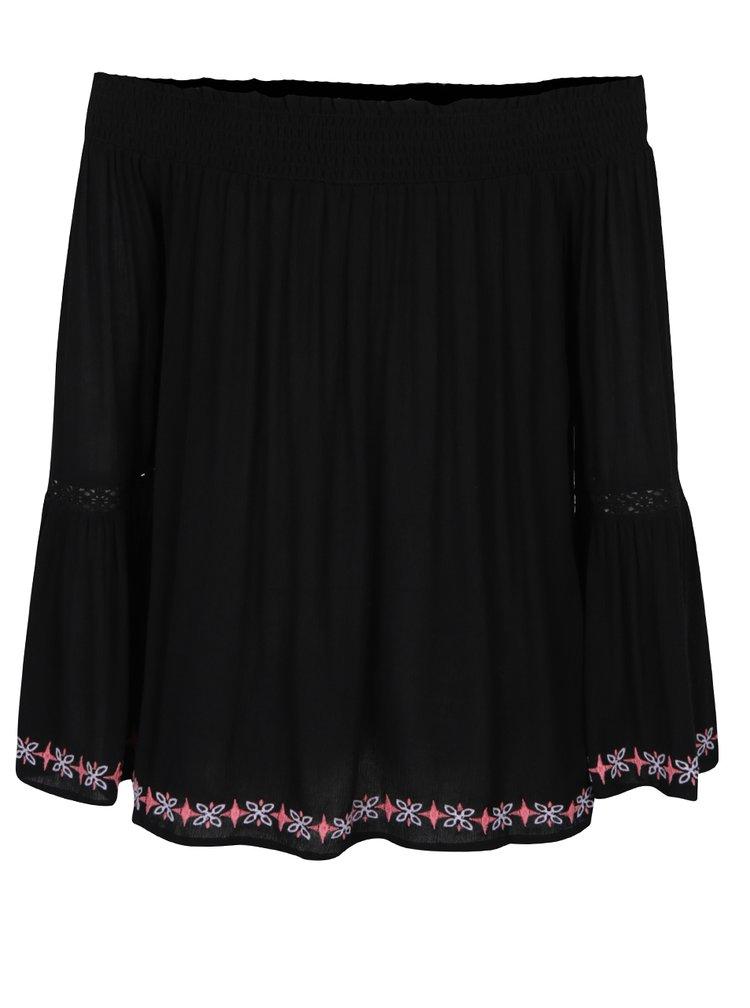 Bluza neagra cu broderie si maneci evazate - Miss Selfridge