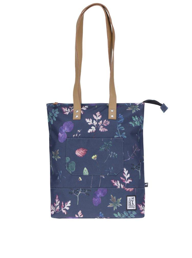 Geanta shopper bleumarin cu flori The Pack Society
