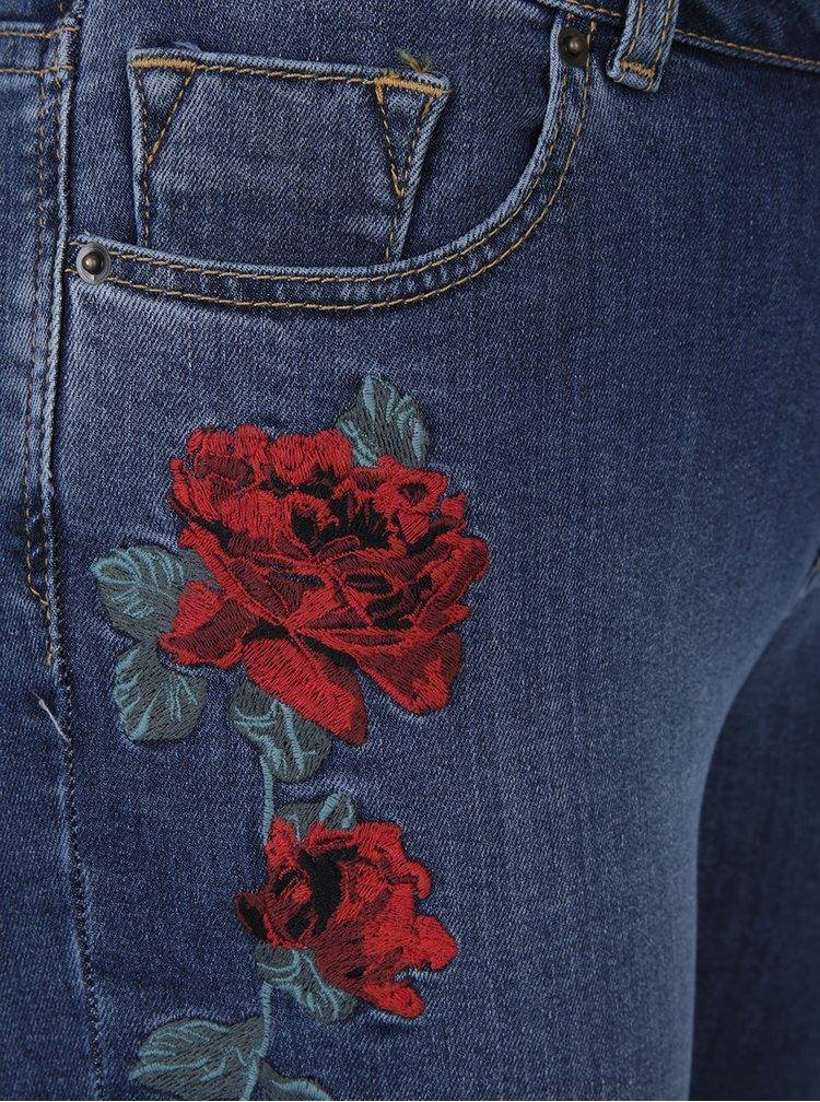 Modré zkrácené skinny džíny s vyšivkami Dorothy Perkins