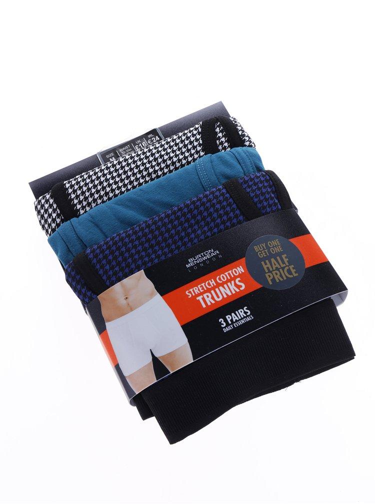 Set de 3 perechi de boxeri imprimeu picior de cocoș - Burton Menswear London