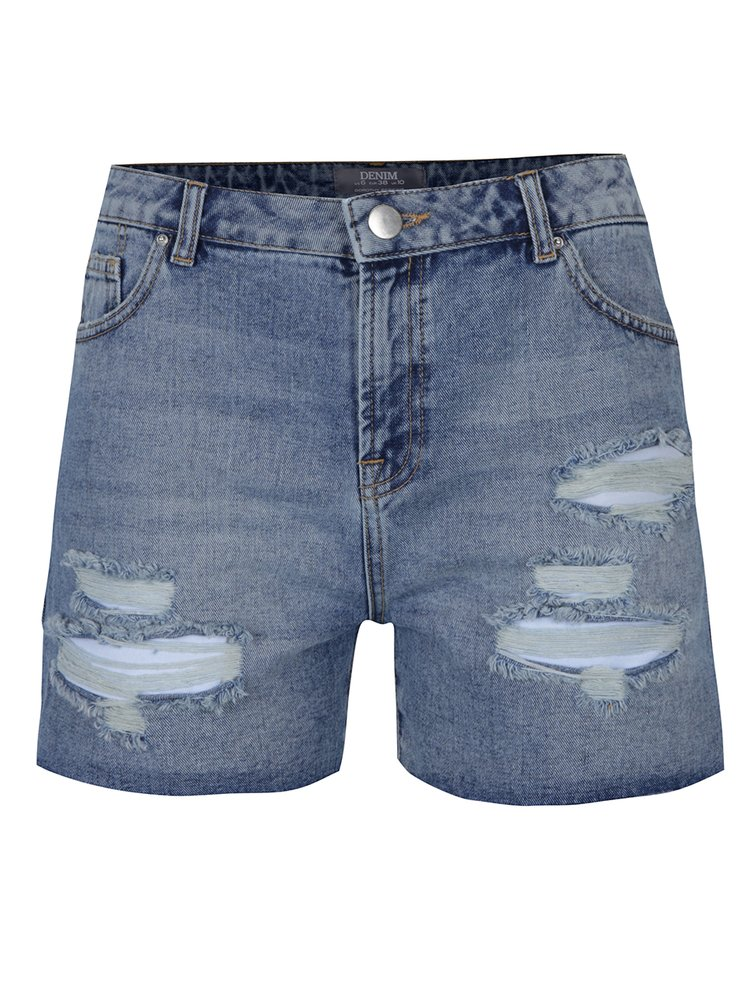 Světle modré džínové kraťasy s vysokým pasem a potrhaným efektem Dorothy Perkins