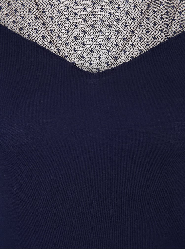 Top bleumarin cu insertie din dantela cu picouri Dorothy Perkins