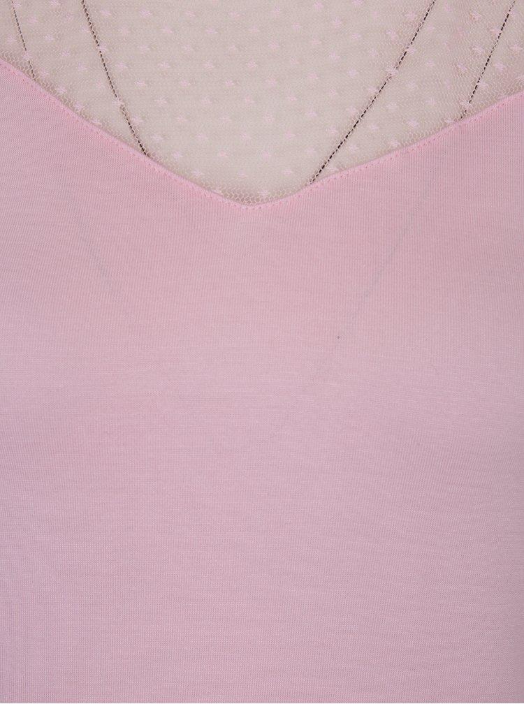 Světle růžové tílko s průsvitným sedlem Dorothy Perkins