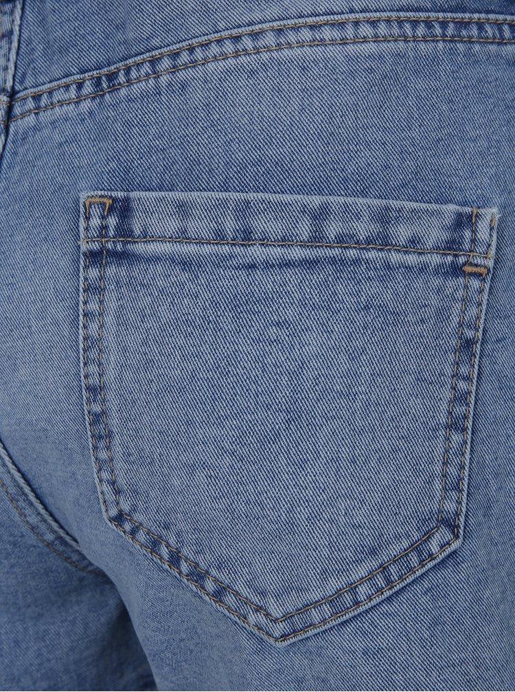 Světle modré džínové kraťasy s vysokým pasem a roztřepenými lemy Dorothy Perkins