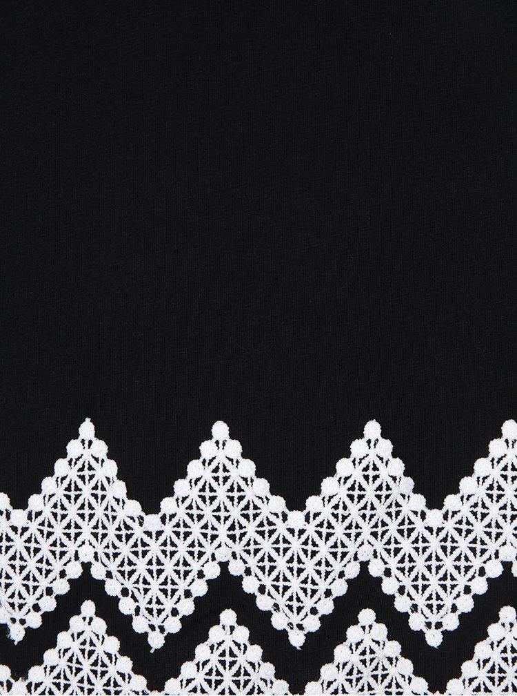 Černé tílko s krajkovými detaily Dorothy Perkins