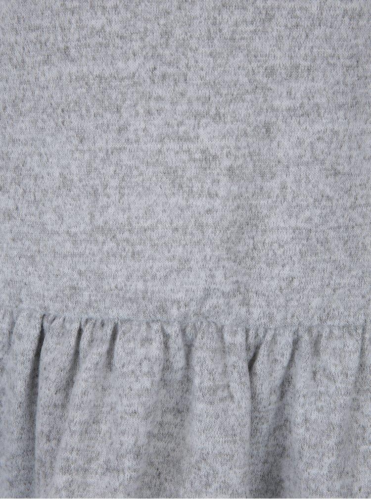 Bluză peplum gri cu mâneci lungi VILA Lune