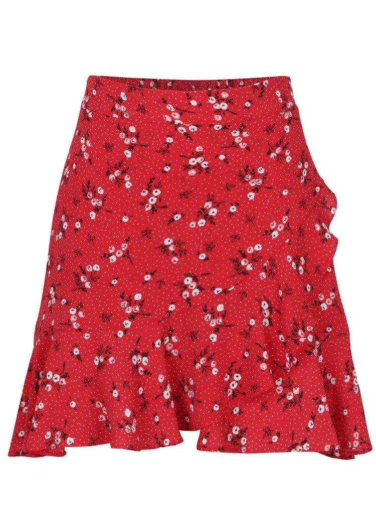 Červená květovaná minisukně s volánem Miss Selfridge Petites