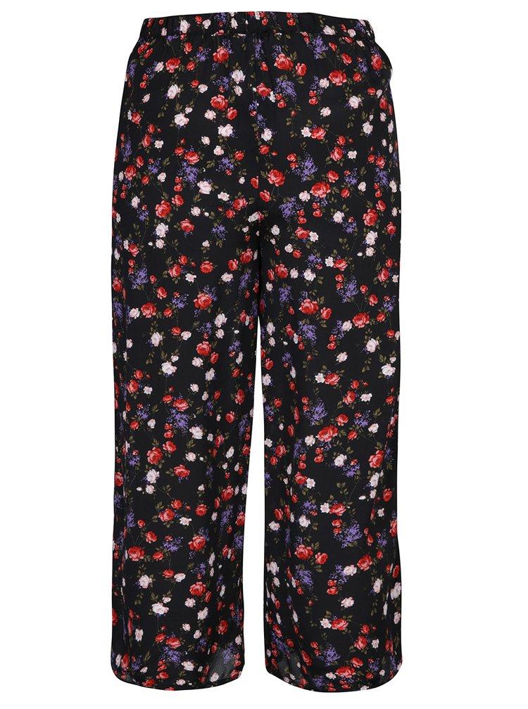 Černé volné květované kalhoty Miss Selfridge