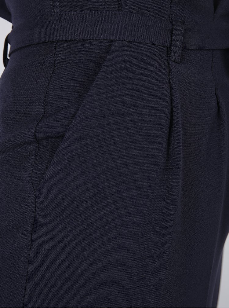 Pantaloni conici bleumarin cu cordon in talie - Miss Selfridge Petites