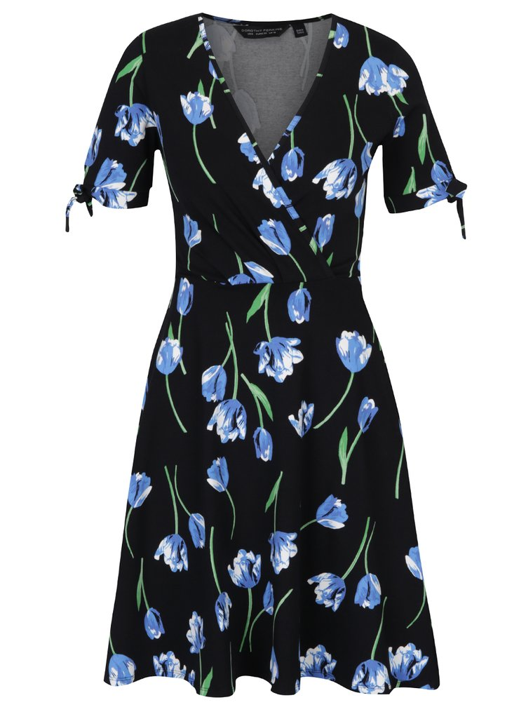 Rochie neagră petrecută cu model floral Dorothy Perkins