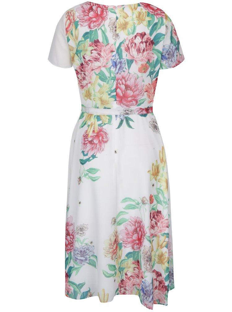 Krémové květované šaty se zavazováním v pase Dorothy Perkins