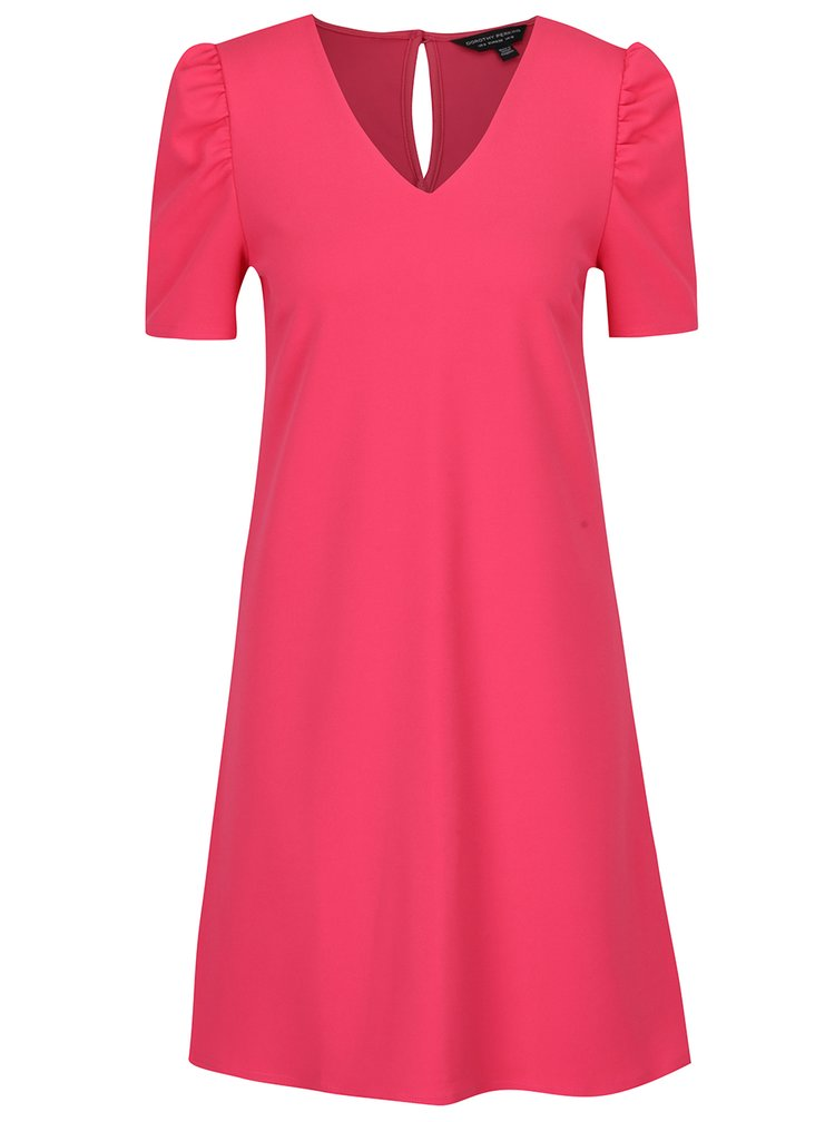 Rochie midi roz în A cu mâneci scurte Dorothy Perkins
