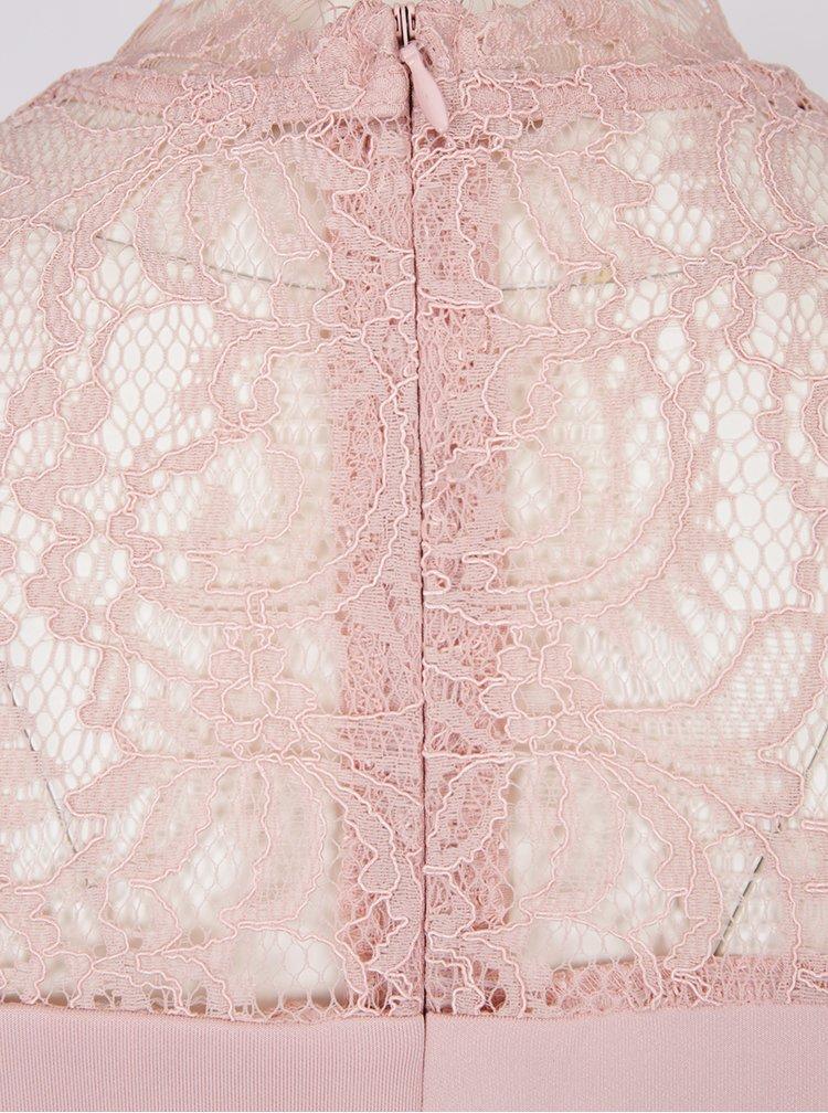 Rochie midi roz pal cu insertii din dantela Dorothy Perkins