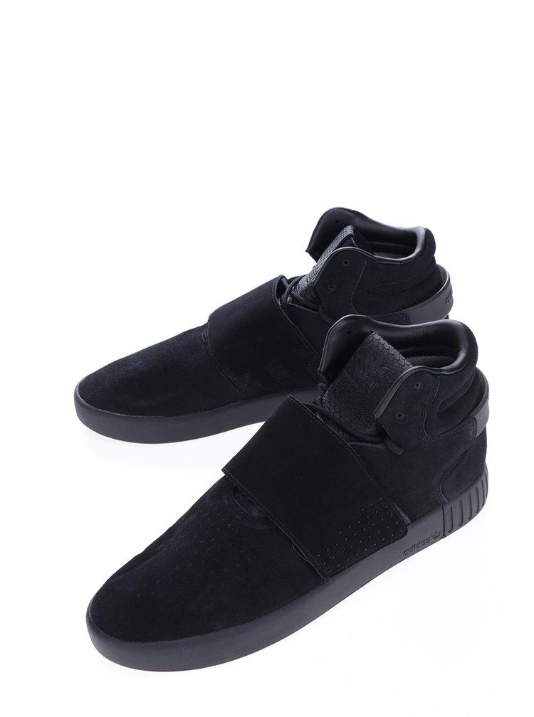 Černé pánské kotníkové semišové tenisky adidas Originals Tubular Invader
