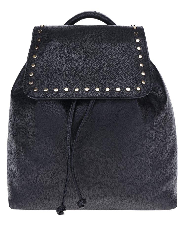 Černý batoh se cvočky ve zlaté barvě Miss Selfridge