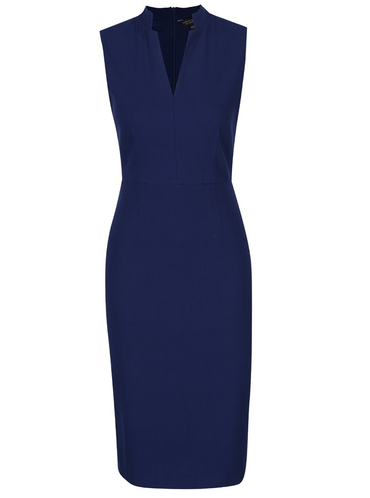 Tmavě modré pouzdrové šaty s véčkovým výstřihem Dorothy Perkins