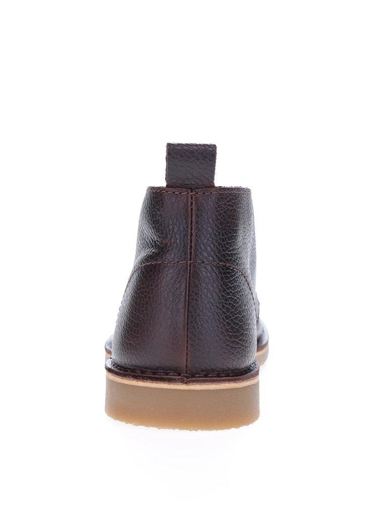 Hnědé kožené kotníkové boty Selected Homme Royce