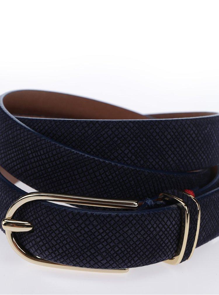 Tmavě modrý dámský kožený pásek s přezkou Tommy Hilfiger Texture