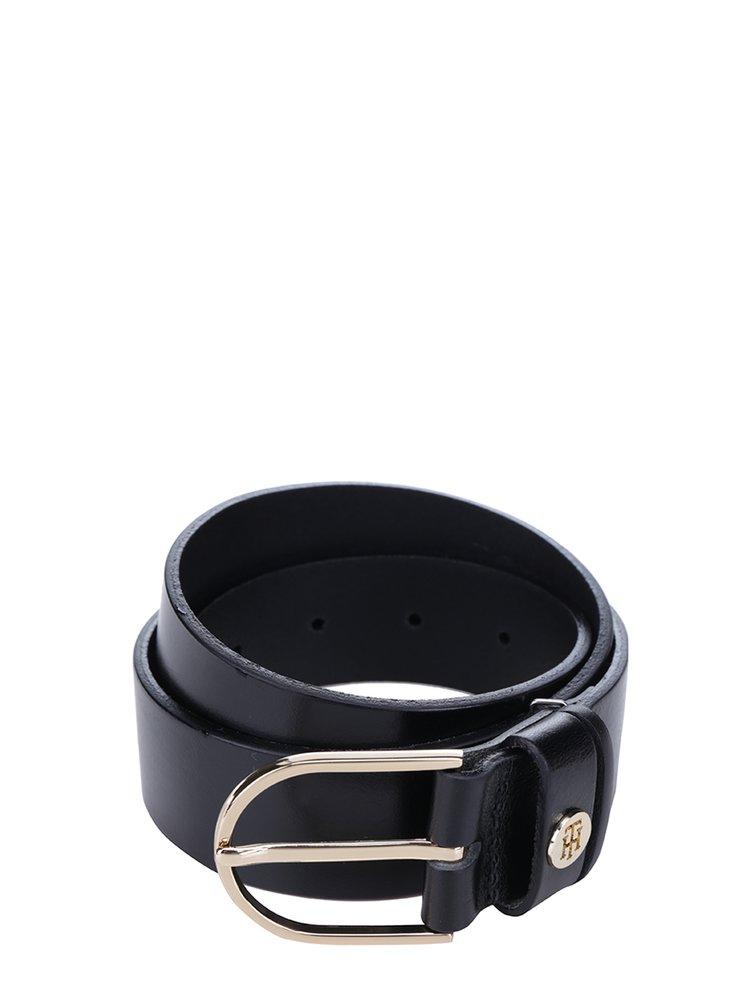 Černý dámský kožený pásek Tommy Hilfiger Classic
