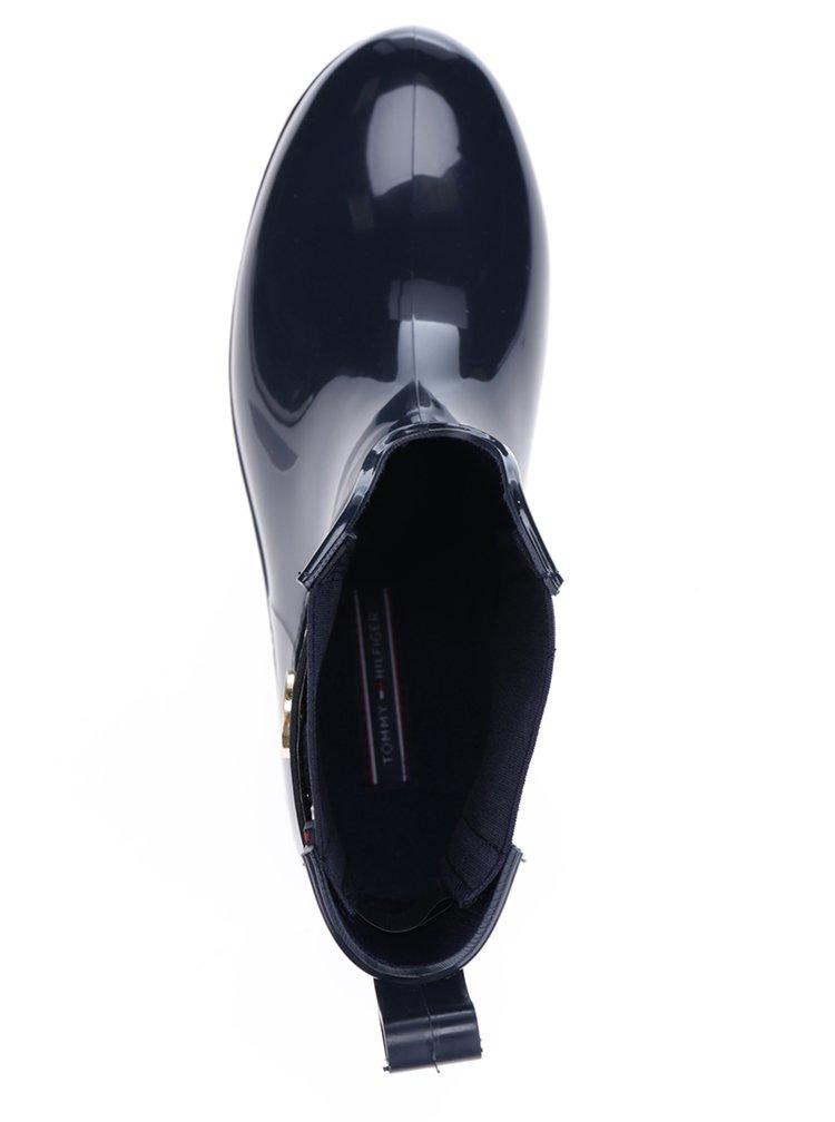 Tmavě modré dámské gumové chelsea boty s detaily ve zlaté barvě Tommy Hilfiger Oxley