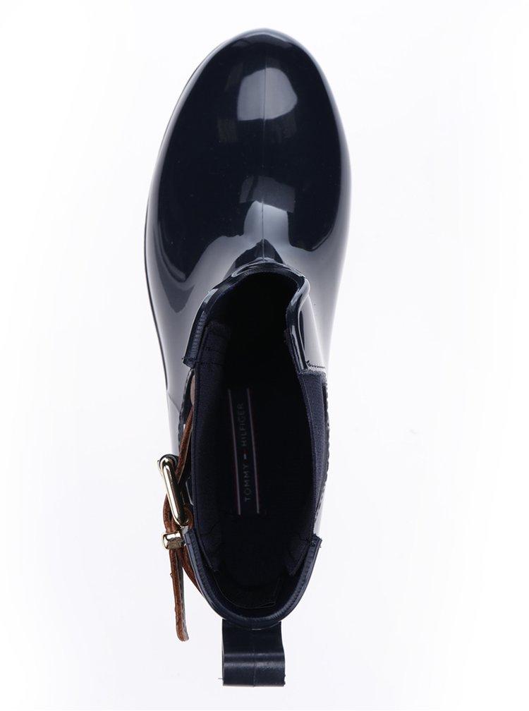 Tmavě modré dámské kotníkové holínky s koženými detaily Tommy Hilfiger Oxley