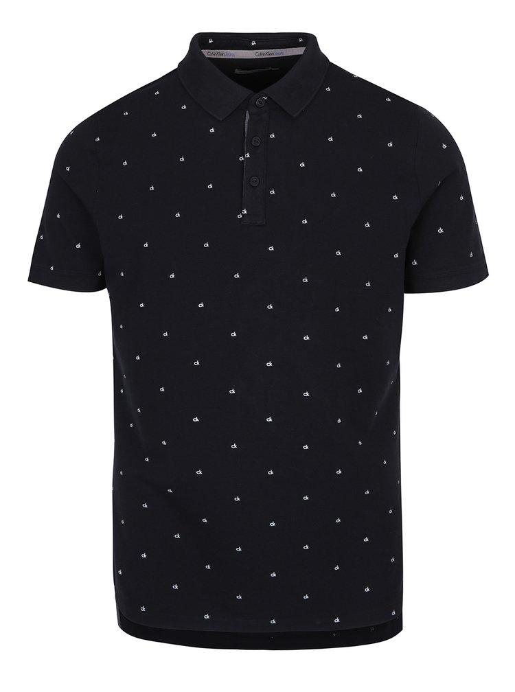 Černé pánské polo tričko s jemným vzorem Calvin Klein Jeans Pertol