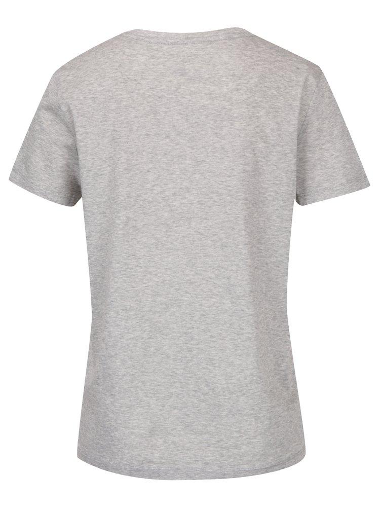 Světle šedé dámské tričko Tommy Hilfiger Tommy Embossed