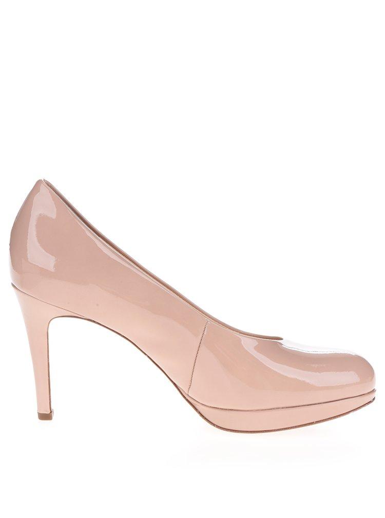 Pantofi bej cu toc cui din piele Högl