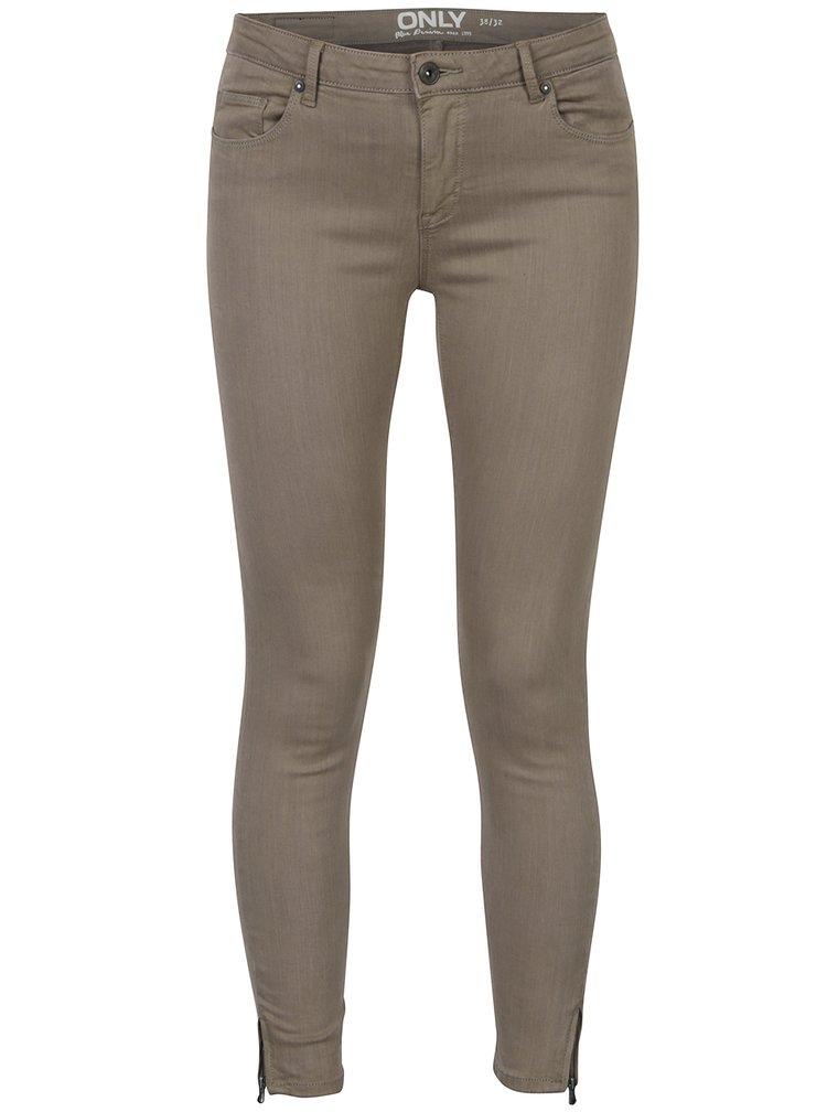 Béžové zkrácené skinny džíny ONLY Serena